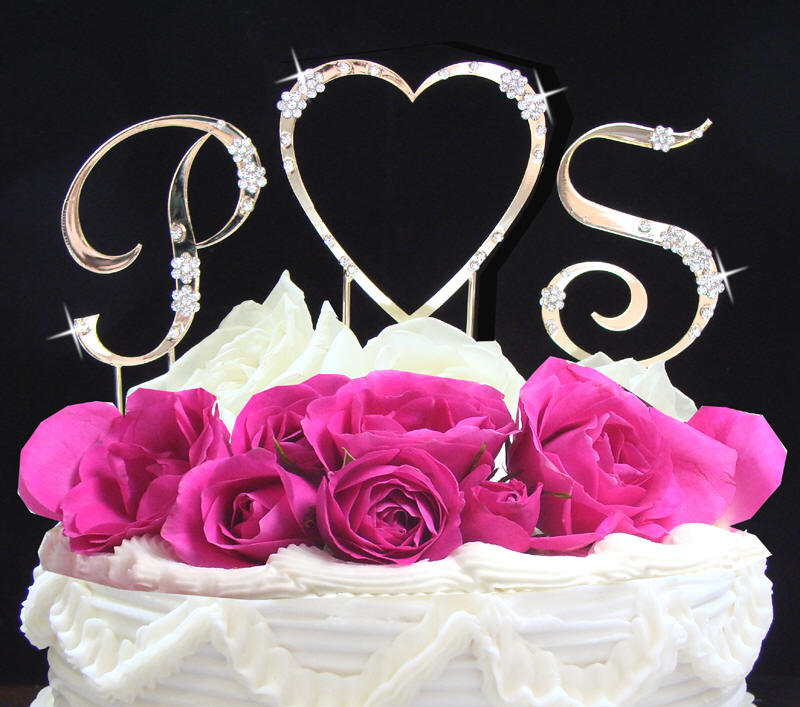 french script 2 letters with heart wedding cake topper