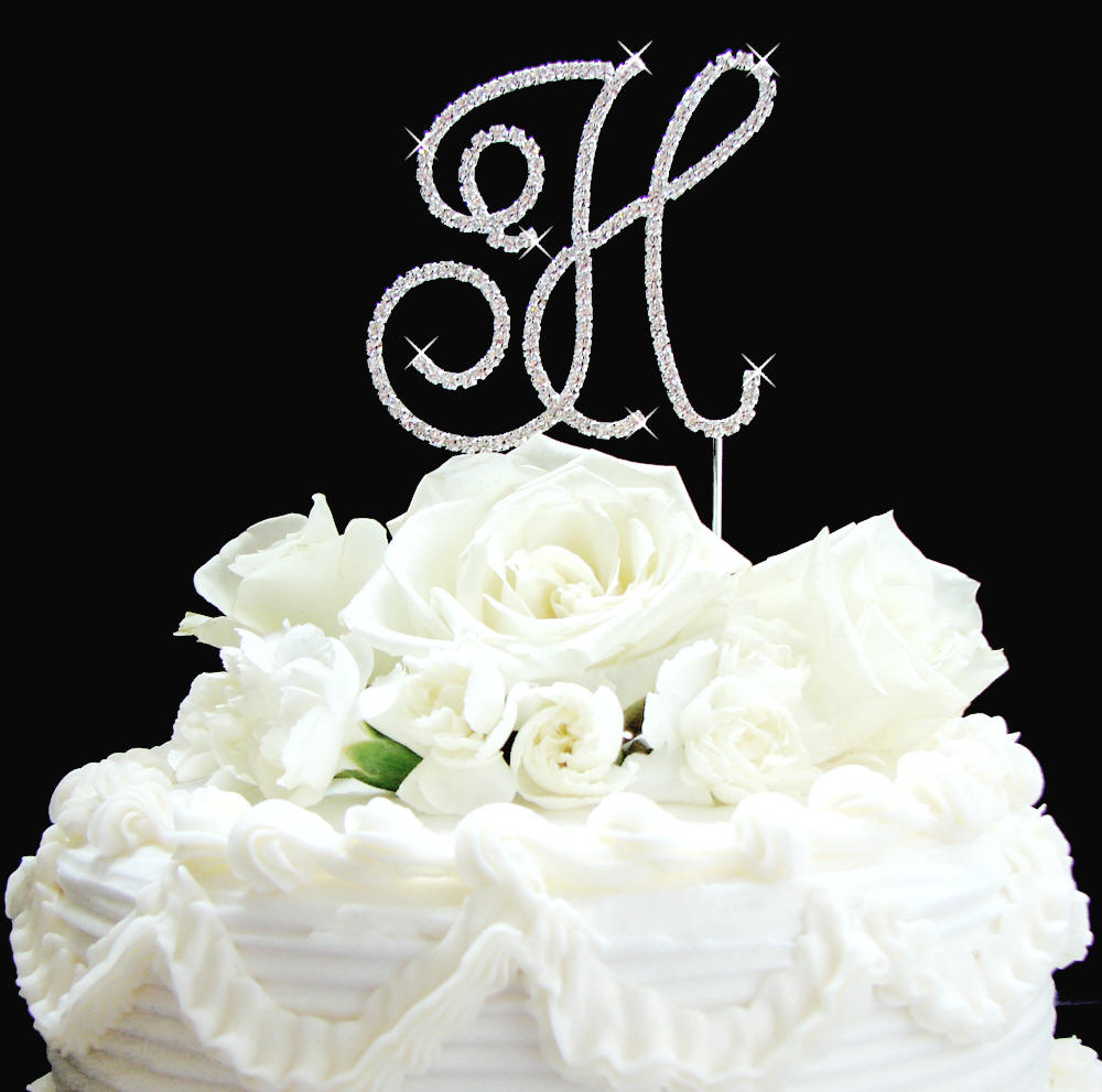 small letter h wedding cake topper