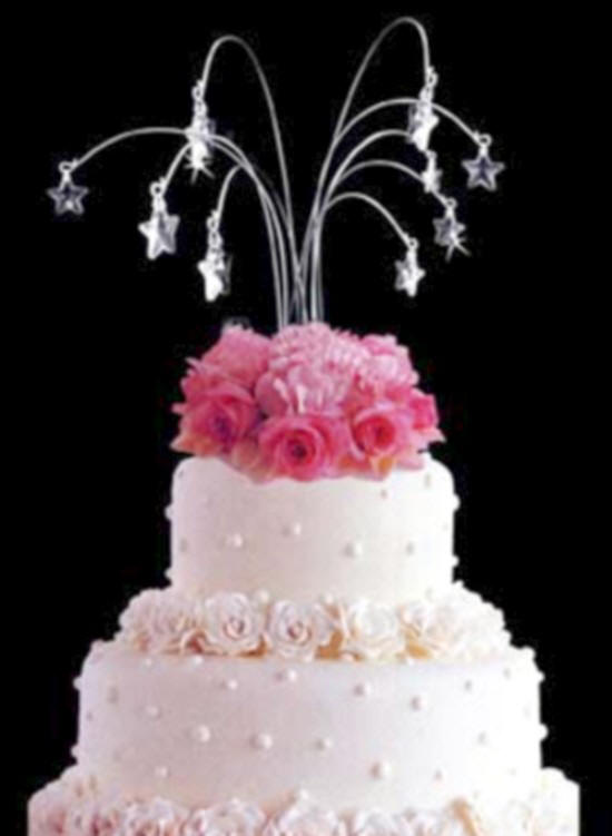 Star Shaped Crystal Drops Wedding Cake Spray Topper