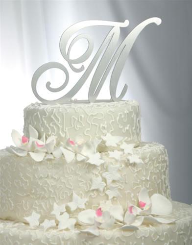 Solid Brushed Metal Monogram Wedding Cake Topper By Wmi