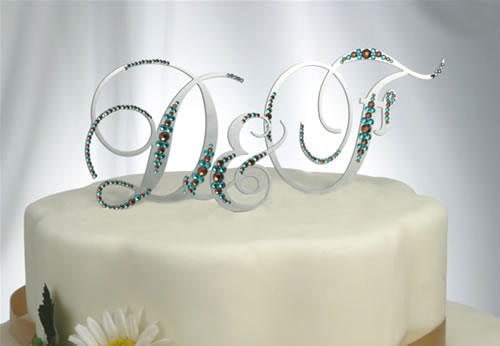 Attractive ... Acrylic Mirror In Silver With Crystals Monogram 3 Letters Wedding Cake  Topper