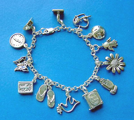 Sterling Silver Rolo Charm Bracelet With Charms