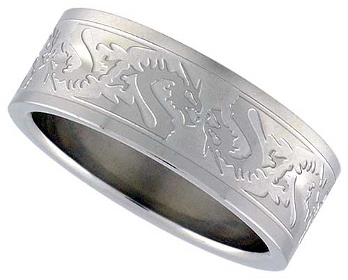 Dragon Tribal Pattern Stainless Steel Wedding Band 8mm Wide Eco Friendly