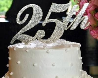 Acrylic 25th Birthday Or Annoversary Cake Topper Shown In Fairy Dust Color