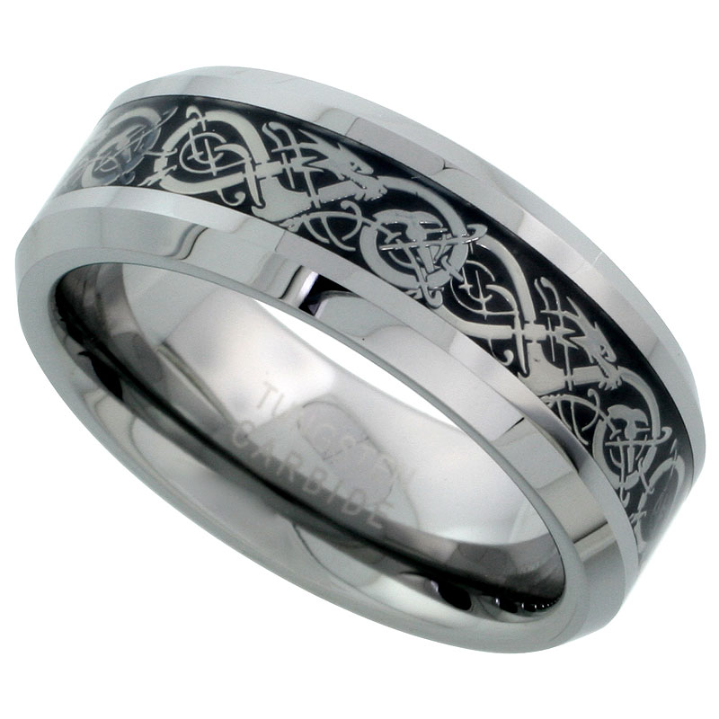 Celtic Dragon With Black Finish Background Tungsten Carbide Wedding Ring
