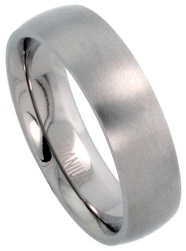 White Titanium Wedding Band Ring 6MM High Polished with Brushed Center Size 5-12
