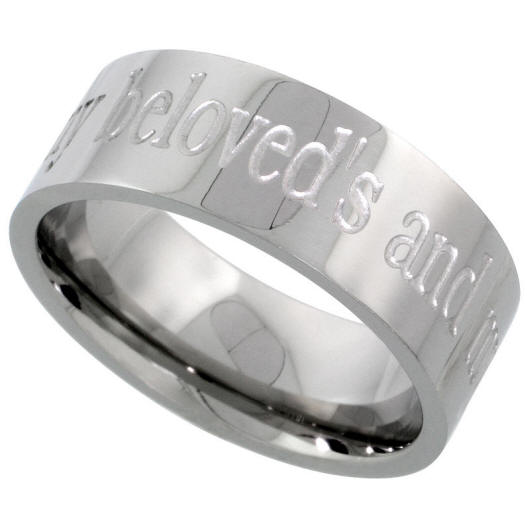 Stainless Steel I HAVE FOUND THE ONE IN WHOM MY SOUL DELIGHTS Wedding Ring Set